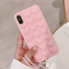 For iPhone X 6 7 8 Plus 3D Heart Soft Silicone Shockproof Bumper Case Skin Cover