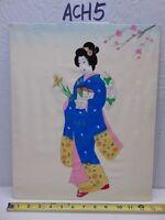 VINTAGE ASIAN JAPANESE GEISHA PAINTING OLD ON SILK BLUE KIMONO SIGNED FLOWERS
