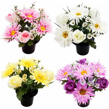 Cemetery Pot With Gerbera Rosebud And Daisy White, Pink, Purple And Yellow