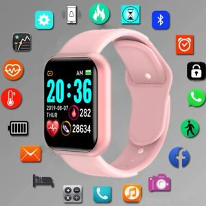 Squae Silicone Digital Watch Men Sport Women Watches Electronic LED Fitness pink