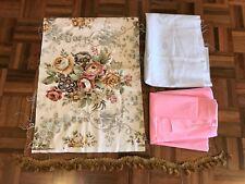 Vintage lot craft sewing fabric tassel trim floral linen pink cotton brocade