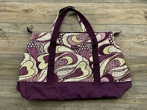 Thirty One Duffel Bag Weekender Travel Soft Cotton Canvas Purple Floral Print