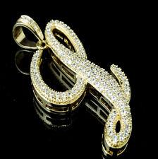 CUSTOM LETTER INITIAL L NECKLACE PENDANT FRANCO CHAIN CHARM SET GOLD LAB DIAMOND
