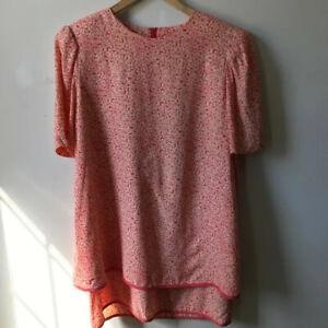 Vintage Maternity Two Piece Peach Flower Dress Drawstring Skirt Micro print Sz S