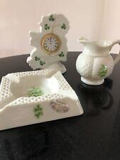 Donegal Parian China CLOCK, Shape of Ireland,small jug, ashtray