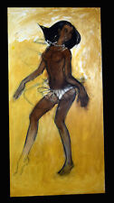 "48"" Original Henry Porter Nude Dancing Woman Black Americana Canvas Painting"