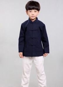 100% Handmade Boys Long Sleeve Kung Fu Tai Chi Martial Arts Kids Jacket