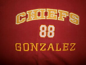 TONY GONZALEZ KANSAS CITY CHIEFS 88 SWEATSHIRT Red Sewn Embroidered NFL Football