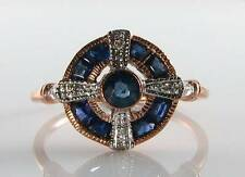 LOVELY 9CT 9K ROSE GOLD BLUE SAPPHIRE DIAMOND ART DECO INS RING FREE RESIZE