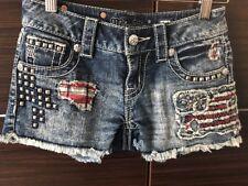 *NEW* Misss Me Denim Jean Shorts Distressed Flag Studs Crystals JP7531H2 Size 24