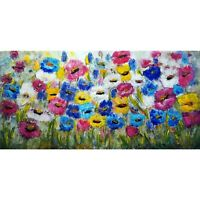Original Painting Abstract Floral Impasto Oil Large Canvas Summer Flowers