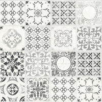 Grandeco Wallpaper - Luxury Porto Tile - Moroccan Tile Design - Grey - A22904