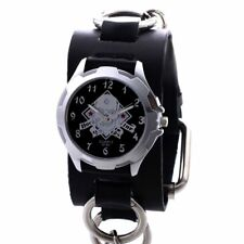 Gothic Women Men Quartz Wrist Watch Steampunk Rock Wristwatch Black Leather Band