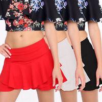 Ladies Ex Store Skirts Mini Womens Frill Shorts High Waist Ruffle Layer Skorts