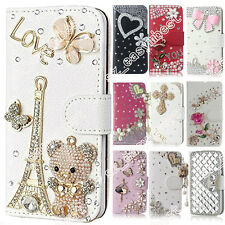 Diamond Glitter Wallet Flip Card Stand Colorful Bling Case Fit Cover For Samsung