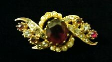 Better Quality Vintage Goldtone Brooch with Rhinestones and Faux Pearls
