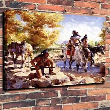 Art Quality Canvas Print, Oil Painting The Indians, The Apaches In Water 16x20