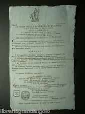 Grida Cisalpina Anno VI Repubblicano Contrada Riconoscenza Francia Napoleon 1798