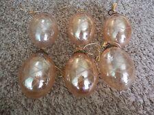 6 Lovely Nwot Amber Glass Egg Ornaments