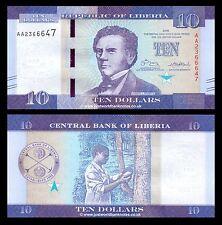 Liberia 10 dólares 2016 primera prefijo 'AA' P-Nuevo Nuevo Diseño UNC