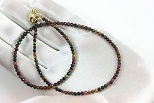 Black Fire Opal Necklace faceted solid strand 14k Gold Filled Natural 18 inch