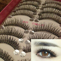 10 Pairs Makeup Beauty Long Thick Cross False Eyelashes Eye Lashes Extension