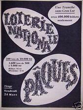 PUBLICITÉ 1961 LOTERIE NATIONALE PAQUES TIRAGE VENDREDI 24 MARS -  F.LESOURT