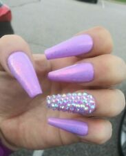 neon purple crystal w/ opal glitter bling press on nails luxury diamond