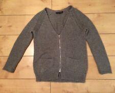 Topshop Petite Chunky Cardigan Size 8 grey Zip up 9% Mohair
