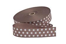 1 m Gurtband in braun mit weißen Sternen  30 mm