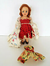 """Antique Composition Doll 7"""" Dresses Jointed Arms No Maker Marks Sold As Found"""