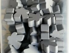 Games Accessories: Meeples - Wooden Meeples 16mm Grey x 10