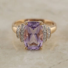 Amethyst and Diamond Dress Ring 9ct Yellow Gold Size L