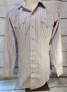 Western Shirt H Bar C Ranchwear Long Tail Rockabilly Stripe Pearl Snaps Sz 15-34