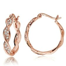 Rose Gold Flash Sterling Silver Cubic Zirconia 24mm Twist Round Hoop Earrings