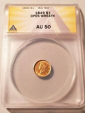 Nice Circulated 1849 Open Wreath $1 Gold Coin Graded by ANACS as an AU-50 !