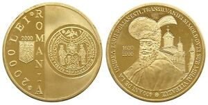 u065 ROMANIA 2000 LEI 2000 MICHAEL THE BRAVE Pattern P542 BRASS PROOF coin