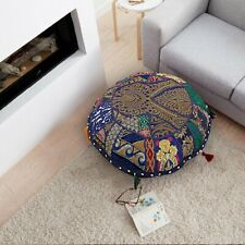 """18"""" Indian Patchwork Handmade Round Floor Decorative Pillow Cushion Cover Throw"""