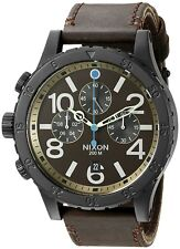Nixon Men's A3632209 48-20 Chronograph Brown Leather Black Steel A363-2209-00