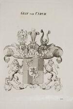 1847 Coat of Arms Wappen Graf von Unruh Kupferstich von Tyroff