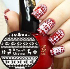 PIASTRE di stampaggio Nail Art Immagine Targa Decorazione Natale Renne a Maglia He60