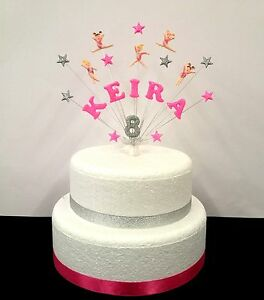 gymnastics / gym birthday cake topper, personalised name and age, hand crafted