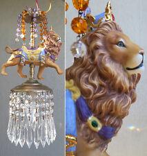 Porcelain Carousel Lion Lamp Swag Chandelier Vintage African Royal Topaz Purple