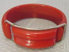 old vtg RED BAKELITE BANGLE art deco chrome buckle hinged bracelet carved tested