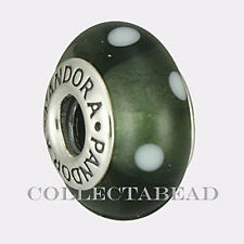 Authentic Pandora Silver Murano Black White Polka Dots Bead 790603 *RETIRED*