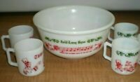 VINTAGE Milk Glass TOM & JERRY Punch Bowl & 4 Cups-Christmas-Hazel Atlas-RARE