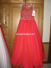 Authentic TIFFANY PRINCESS 13496  Red Stunning Girls Pageant Gown Dress sz 8