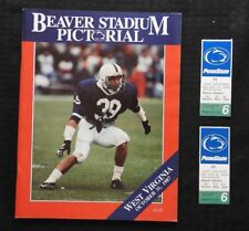 1987 PENN STATE LIONS vs WEST VIRGINIA FOOTBALL PROGRAM BLAIR THOMAS + 2 TICKETS