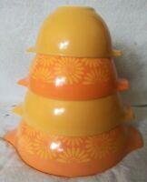 Vintage PYREX Yellow/Orange Sunflower/Daisy Cinderella Mixing Bowl Set