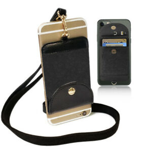 Black 2 in 1 iPhone Necklace Holder & Credit Card Holder for iPhone Cell Phone